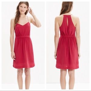 Madewell Silk Daylight Dress In Red